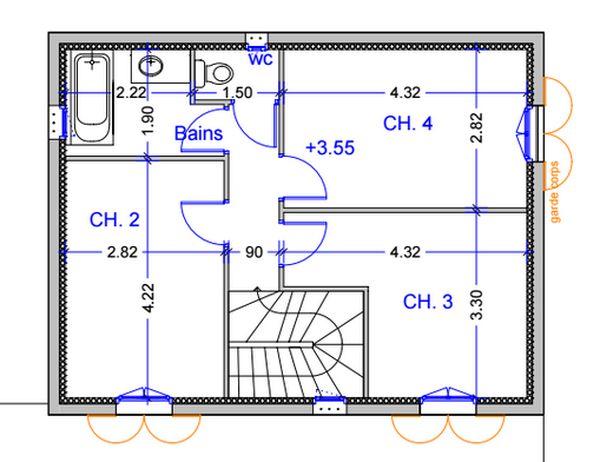 Le plan de l'étage de la villa Viala au Rayol